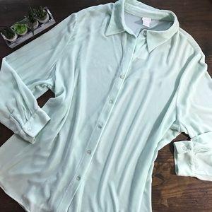 Soft Surroundings Velour Boyfriend Shirt Size 2X